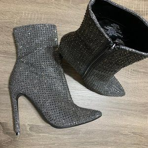 Steve Madden Wifey Charcoal Crystal Ankle Boot